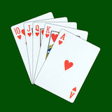 Spielkarten eines königliche geraden Errötens stockfoto