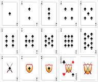 Spielkarten eingestellt - Spaten Stockbild