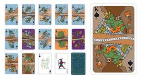Spielkarten in Fantasieart Spaten als Schleppangelkarikatur lizenzfreie abbildung