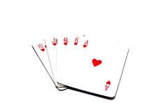 Spielkarten lokalisiert Stockfotografie