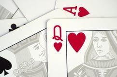 Spielkarten nah oben Stockfotografie