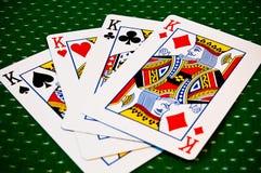 Spielkarten - vier Könige stockbilder