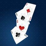 Spielkarten vier Klagen stock abbildung