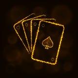 Spielkartenschattenbild von Lichtern Baumuster 3D auf weißem Hintergrund Lizenzfreies Stockbild