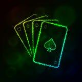 Spielkartenschattenbild von Lichtern Baumuster 3D auf weißem Hintergrund Lizenzfreies Stockfoto