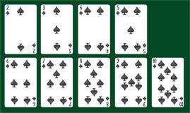 Spielkartespaten von 2 bis 10 Ein Kartenstapel vektor abbildung