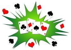 Spielkartespritzen Stockfoto