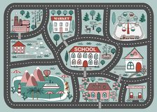Spielmatte für Kinder Tätigkeit und Unterhaltung Karikatur-Stadt-Landschaft vektor abbildung