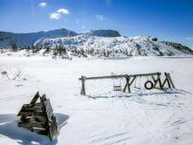 Spielplatz auf einen Berg in den österreichischen Alpen Stockfotografie
