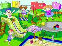 Spielplatz der Kinder Vektorillustration von Schwarzweiss Lizenzfreie Stockbilder
