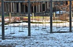 Spielplatz im Central Park, Manhattan, NYC im Winter Stockfotografie