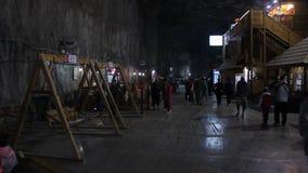 Spielplatz im Salzbergwerk Praid stock video footage