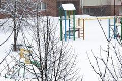 Spielplatz im Winter Lizenzfreies Stockfoto