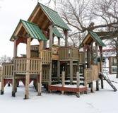 Spielplatz im Winter Stockbild