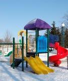 Spielplatz im Winter stockfoto