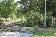 Spielplatz verunreinigt mit Sturmschaden Stockfotografie