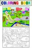 Spielplatzfarbton der Kinder Vektorillustration von Schwarzweiss Lizenzfreies Stockbild