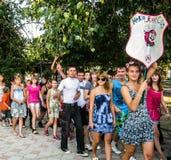 Spieltätigkeiten in einem Lager der Kinder in der russischen Stadt Anapa der Krasnodar-Region Lizenzfreies Stockfoto