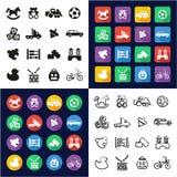 Spielt alle in den Ikonen eine, die schwarz sind u. im weiße freihändig eingestellten Farbflachen Design Lizenzfreie Stockbilder
