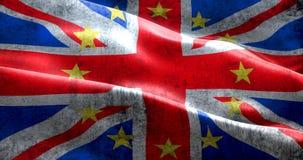 Spielt britische Flagge Englands Großbritannien Brexit-Schmutzes mit EU-Gelb der Europäischen Gemeinschaft die Hauptrolle Stockfotografie
