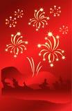 Spielt Feuerwerke auf abstraktem rotem Hintergrund die Hauptrolle Auch im corel abgehobenen Betrag Lizenzfreies Stockbild