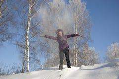 Spielt flaumigen Schnee Stockbilder