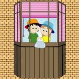Spielt Kinder auf dem Balkon Streiche Entwerfer Evgeniy Kotelevskiy Lizenzfreie Stockfotografie