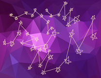 Spielt Konstellationen im Universum im Dreieckhintergrund die Hauptrolle Stockbilder