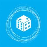 Spielwürfelikone auf einem blauen Hintergrund mit abstrakten Kreisen um und Platz für Ihren Text vektor abbildung