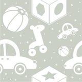 Spielwaren auf dem grauen Hintergrund lizenzfreie abbildung