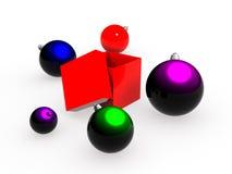 Spielwaren des neuen Jahres nahe zu einem Kasten. lizenzfreie abbildung