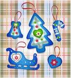 Spielwaren des Vektor-neuen Jahres für Weihnachtsbaum handmade Lizenzfreie Stockfotos