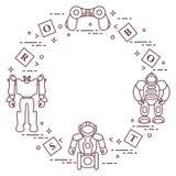Spielwaren für Kinder: Roboter, Fernbedienung, Würfel Stockfotografie