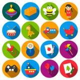 Spielwaren 16 flache Ikonen eingestellt für Netz Lizenzfreie Stockbilder