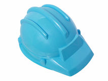 Spielwaren: Heller blauer Plastikaufbau-Sturzhelm Lizenzfreies Stockbild