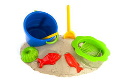 Spielwaren am Strand Stockbild
