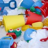 Spielwaren und Schnee lizenzfreies stockfoto