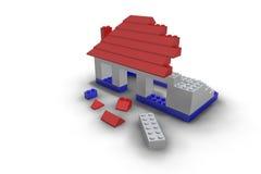 Spielzeug-Baustein-Haus im Bau lizenzfreie abbildung