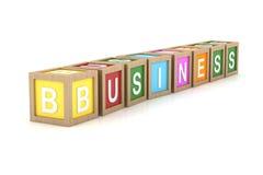 Spielzeug-Block mit Geschäfts-Wort Stockbild