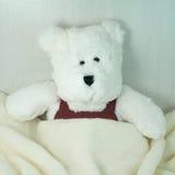 Spielzeug des weißen Bären mit Decke Stockfotos