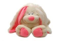 Spielzeug - ein weißes Kaninchen mit den rosafarbenen Ohren Lizenzfreie Stockfotografie