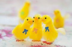 Spielzeug-gelbe Küken für Ostern-Dekoration Lizenzfreie Stockfotografie