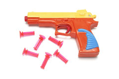 Spielzeug-Gewehr mit Gummigeschossen Stockfoto