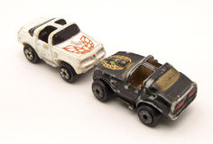 Spielzeugautos mit weißem Hintergrund Stockfoto