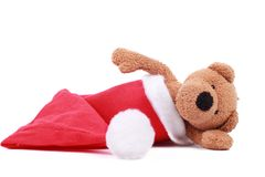 Spielzeugbär Sankt im Hut Lizenzfreies Stockfoto