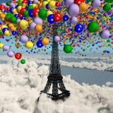 Spielzeugballone über dem Eiffelturm in Paris lizenzfreie abbildung