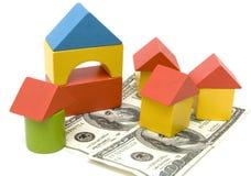 Spielzeugblock und -geld Lizenzfreies Stockfoto