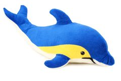 Spielzeugdelphin lokalisiert auf einem weißen Hintergrund stockfotografie