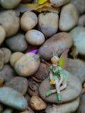 Spielzeugfee auf Felsen stockfotografie