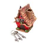 Spielzeughaus und -tasten stockbilder